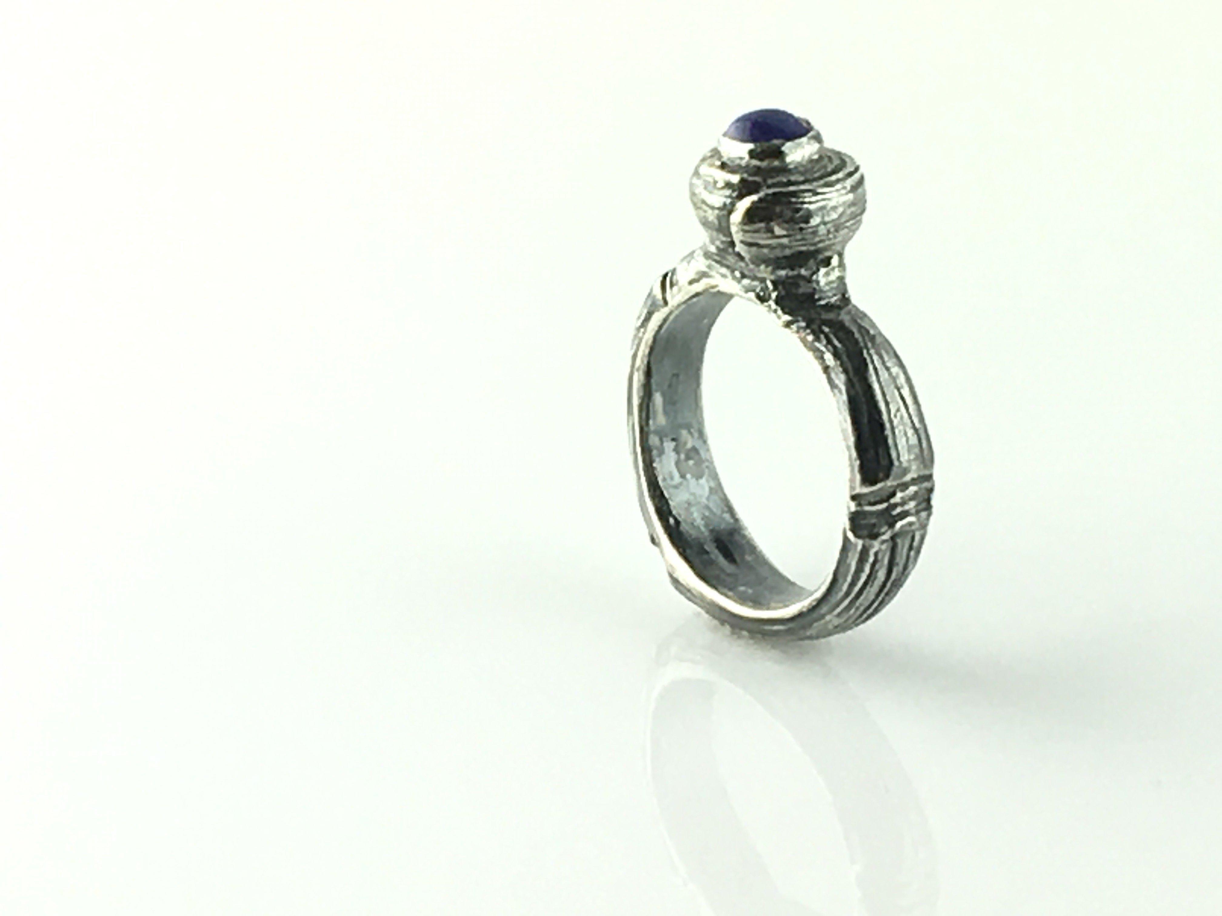 Silver Ring Natural Lapis Lazuli
