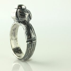 Silver Ring Natural Emerald Stone