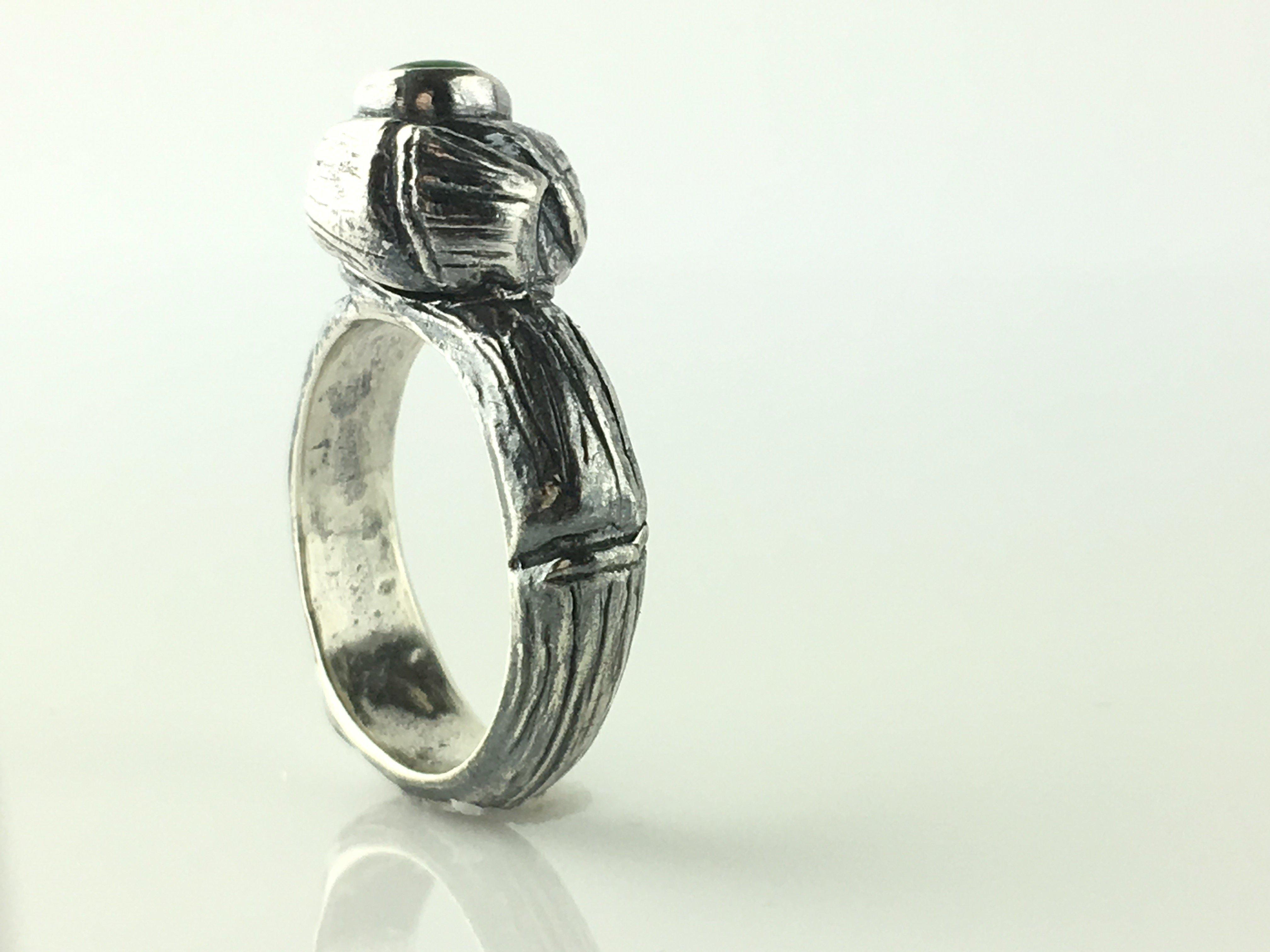 Silver Ring Natural Emerald Stone