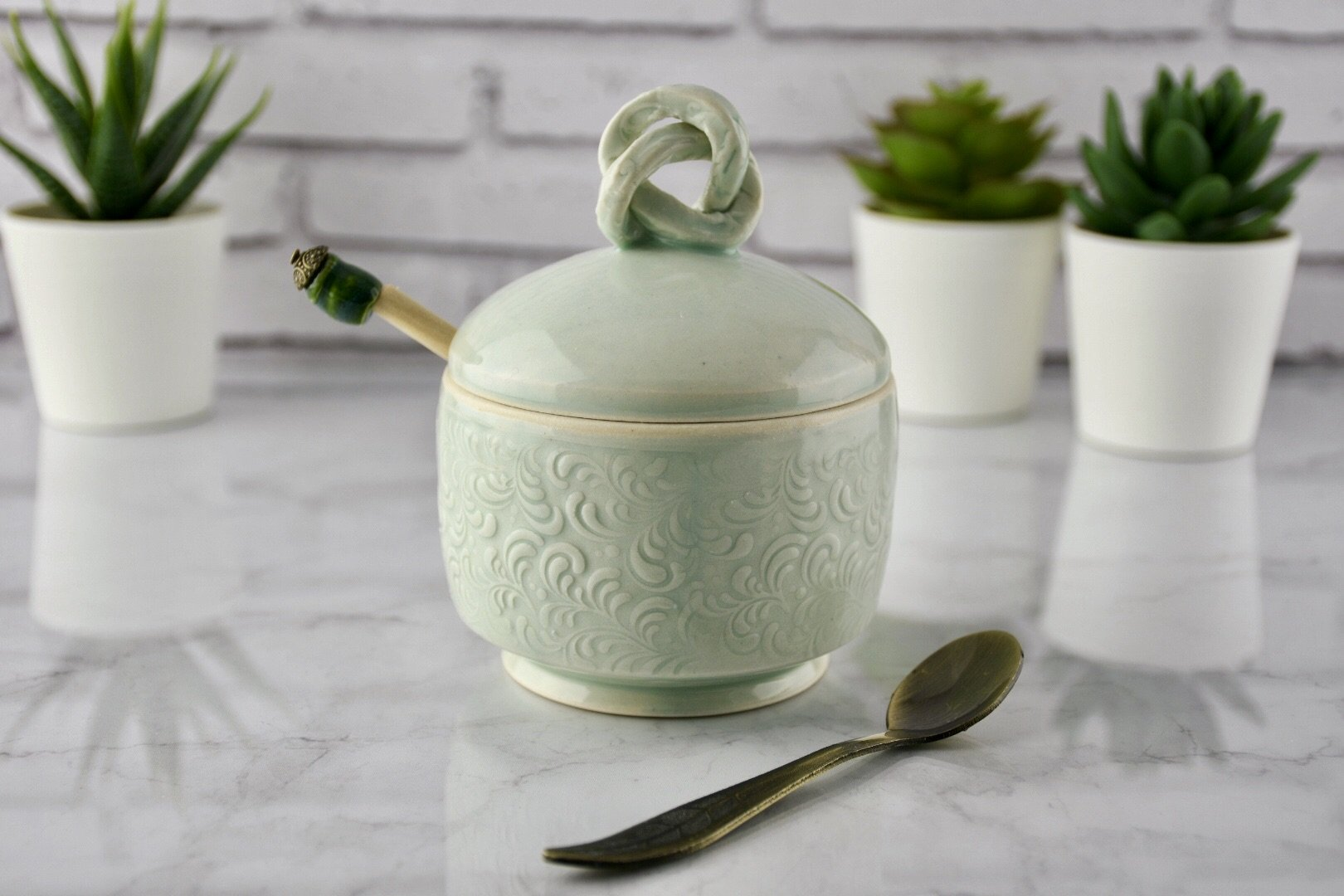Honey Pot Sugar Bowl Celadon with Floral Pattern
